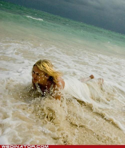 bride,funny wedding photos,ocean,sea,wave