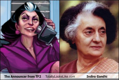 The Announcer from TF2 Totally Looks Like Indira Gandhi
