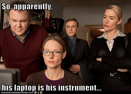 So, apparently,  his laptop is his instrument...