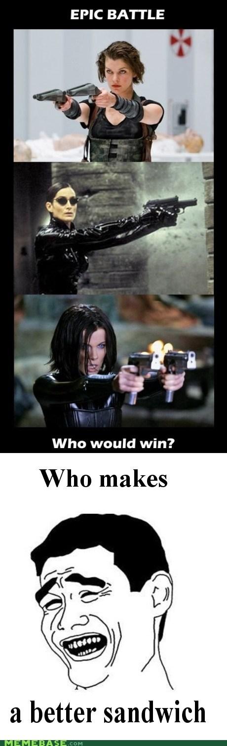 Battle,epic,girls,guns,hunger games,Memes,sandwich
