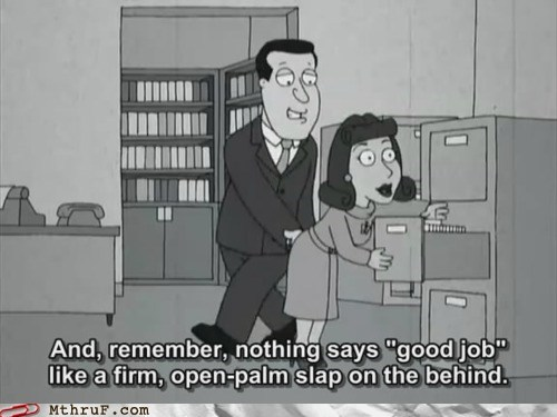 buttslap,family guy,office romance,sexual harassment