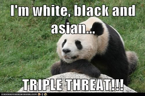 I'm white, black and asian...  TRIPLE THREAT!!!