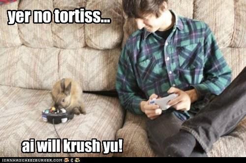 bunnies,competition,crush,gamecube,hare,rabbit,tortoise,video games