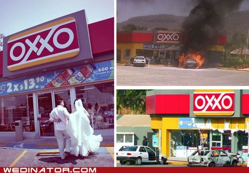oxxo,bride,funny wedding photos,groom,mexico