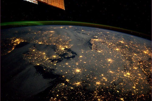 Northern Europe and the Aurora Borealis from Space