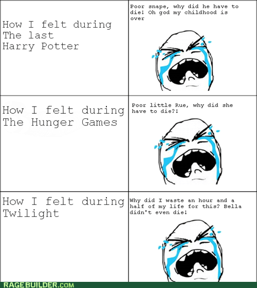 Harry Potter,hunger games,movies,Rage Comics,twilight