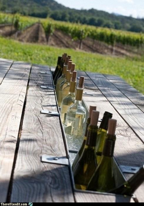 bench,champagne,deck,gutter,wine