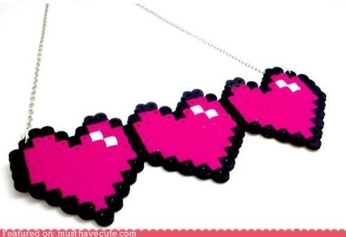 8 bit,accessories,gamer,hearts,Jewelry,necklace,nerdy