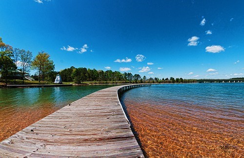 board walk,bride,lake