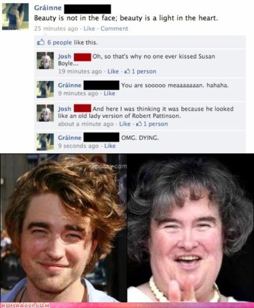 actor,celeb,facebook,funny,Hall of Fame,Music,robert pattinson,susan boyle