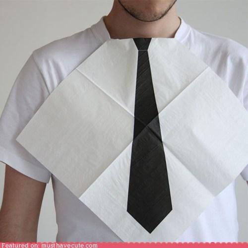 dinner,dress,napkins,tie,tuck