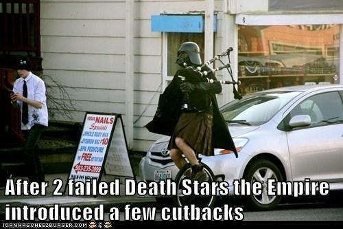 bagpipes,cutbacks,darth vader,Death Star,failed,star wars,The Empire,tie fighters,unicycle