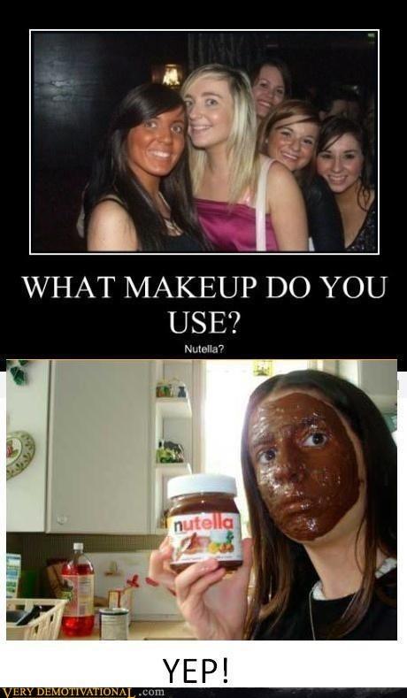 eww,hilarious,makeup,nutella,orange