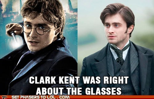 Clark Kent,Daniel Radcliffe,different,disguise,glasses,harry,Harry Potter,right,The Woman in Black