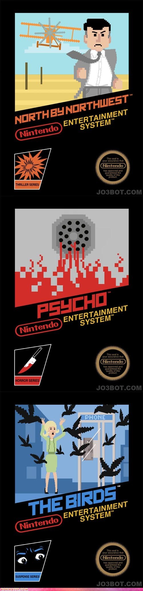 Famous Alfred Hitchcock Movies as Nintendo Games