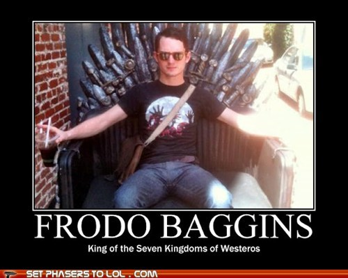 elijah wood,Frodo Baggins,Game of Thrones,king,Lord of the Rings,the iron throne,Westeros