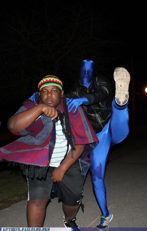 So, a Rastafarian and a Blue Man Walk Into a Bar...