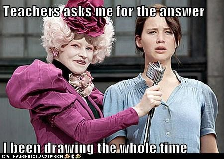 answer,drawing,effie trinket,elizabeth banks,hunger games,jennifer lawrence,katniss everdeen,school,teacher,that feel