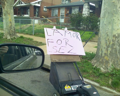 for sale,lawnmower,sign