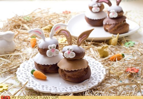 bunnies,chocolate,cream puffs,easter,icing