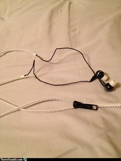 earbuds,headphones,tangled,tangled earbuds,zipper