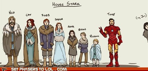a song of ice and fire,best of the week,comic,Game of Thrones,iron man,Jon Snow,starks,tony stark