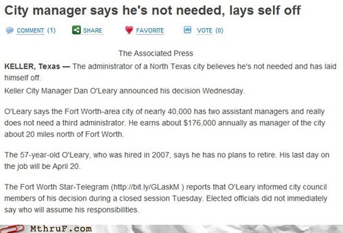 fire yourself,Good Guy Greg,keller,lays self off,manager,texas