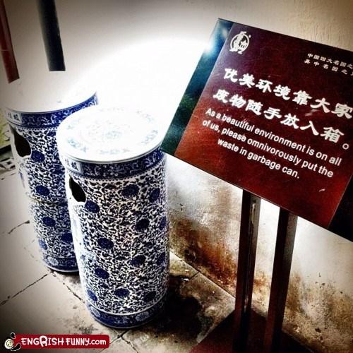 anthropomorphism,garbage can,signs,warning