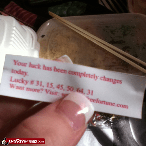 bad luck,chinese food,fortune,fortune cookie,good luck,luck