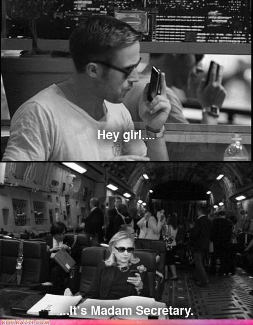 actor,celeb,funny,Hillary Clinton,meme,Ryan Gosling