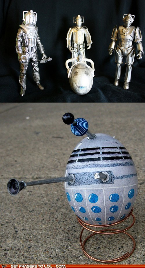 cybermen,daleks,doctor who,easter,easter eggs,eggs,Exterminate,villains