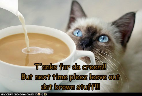 T'anks fur da creem!! But next time pleez leeve out  dat brown stuff!!!