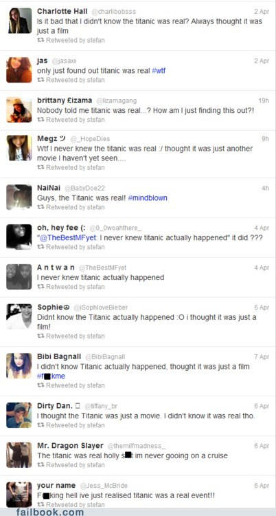 failbook,Featured Fail,movies,real,titanic,titanic 3D,twitter