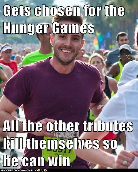 Gets chosen for the Hunger Games  All the other tributes kill themselves so he can win