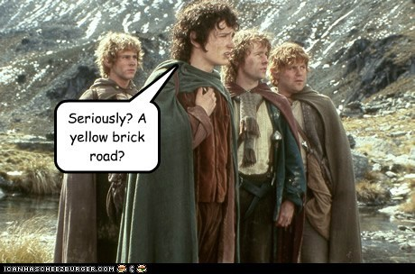 billy boyd,dominic monaghan,elijah wood,Frodo Baggins,Lord of the Rings,Merry brandybuck,pippin took,sam gamgee,sean astin,seriously,Yellow Brick Road