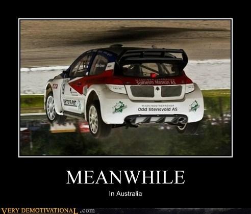 australia,car,flipped,hilarious,Meanwhile