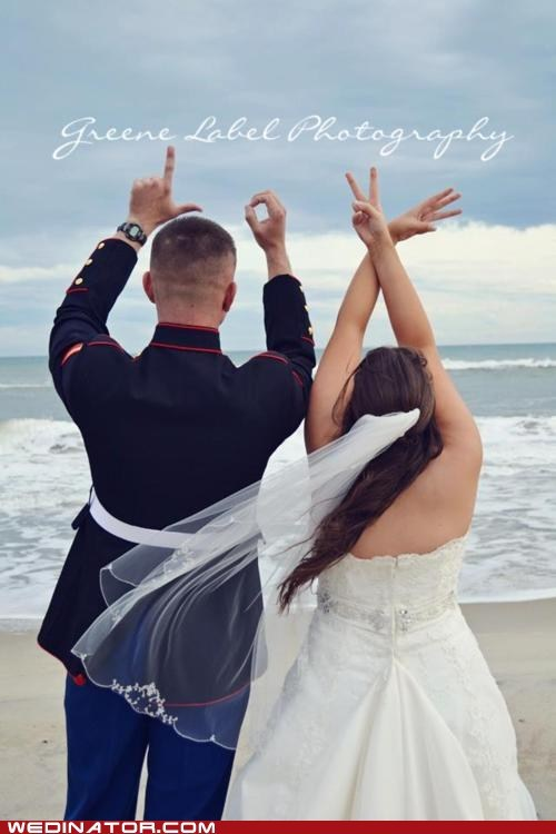 fingers,funny wedding photos,gang,hand,love,ocean,sign language,wedding