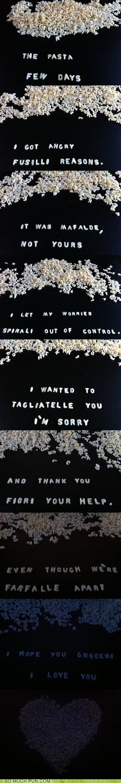 apologizing,apology,pasta,similar sounding,types,variety