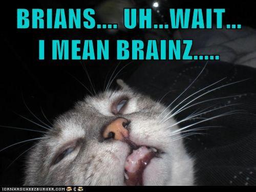 BRIANS.... UH...WAIT...   I MEAN BRAINZ.....