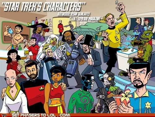 Captain Kirk,cartoons,characters,evil twin,FanArt,Gorn,Riker,Spock,Star Trek,sulu,Worf,x all the y