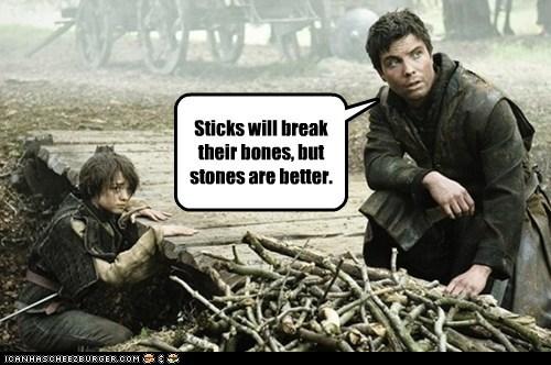 advice,arya stark,better,Game of Thrones,gendry,joe dempsie,Maisie Williams,sticks and stones