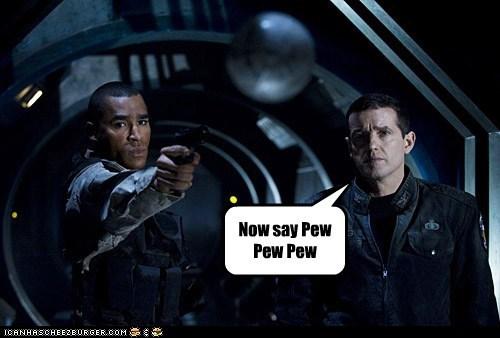brian-j-smith,gun,jamil walker smith,matthew scott,pew pew pew,ronald greer,shooting,Stargate,stargate universe