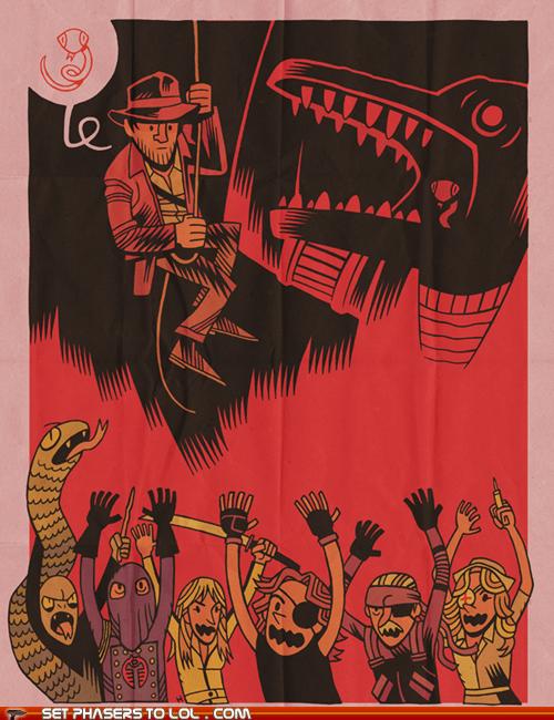 art,Indiana Jones,Kill Bill,metal gear solid,nagini,puns,voldemort