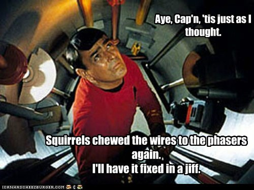captain,chewing,james doohan,phasers,scotty,squirrels,Star Trek,wires
