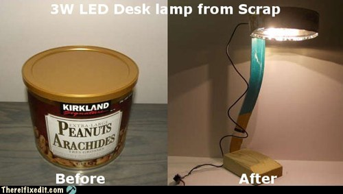 LED Desk Lamp from Scrap Materials