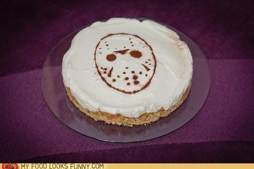 cake,chocolate,friday the 13th,frosting,hockey mask,jason,stencil