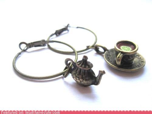 Charms,earrings,hoops,miniature,tea