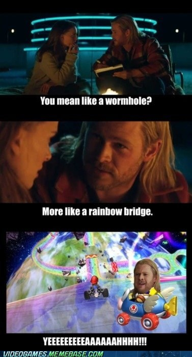 comic,Mario Kart,rainbow road,shortcut,the internets,Thor