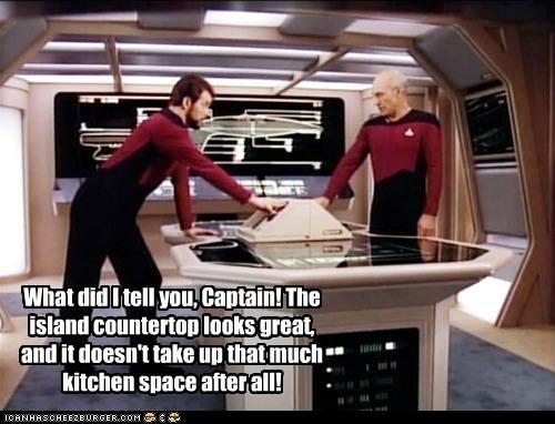captain,Captain Picard,countertop,island,Jonathan Frakes,kitchen,patrick stewart,remodel,Star Trek,william riker