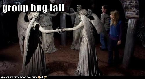 caught,doctor who,FAIL,failblog,group hug,stare,the doctor,weeping angels